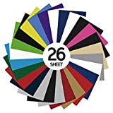 GIO-FLEX PU Heat Transfer Vinyl 10' x 12' - 26 Sheets HTV Assorted Colors Bundle/Variety Pack, Adhesive Vinyl, Iron-On Transfer, Heat Press, DIY Design for T-Shirts, Easy to Weed