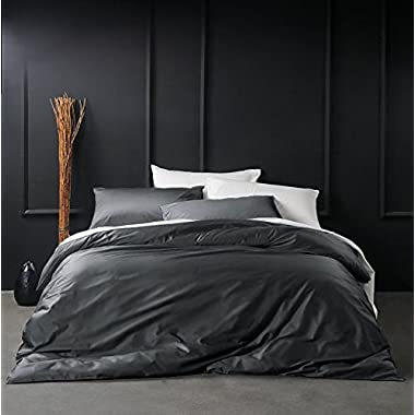 Solid Color Egyptian Cotton Duvet Cover Luxury Bedding Set High Thread Count Long Staple Sateen Weave Silky Soft Breathable Pima Quality Bed Linen (Queen, Charcoal)