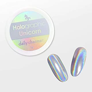 DAILY CHARME Holographic Rainbow Unicorn Powder Pink Gold Silver Holo Chrome 1g (Silver)