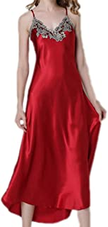 2 pcs, Silk Fabric Pajamas, Long Suspender Nightdress, lace Dress, Sexy V-Neck Nightdress, Casual Home wear, Comfortable and Soft (Color : Red, Size : L)