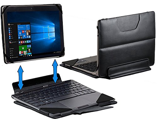 Navitech Black Leather Detachable Folio Case Cover Sleeve Compatible With The HP x2 10-p000na 10.1-inch Touch Screen Detachable Laptop