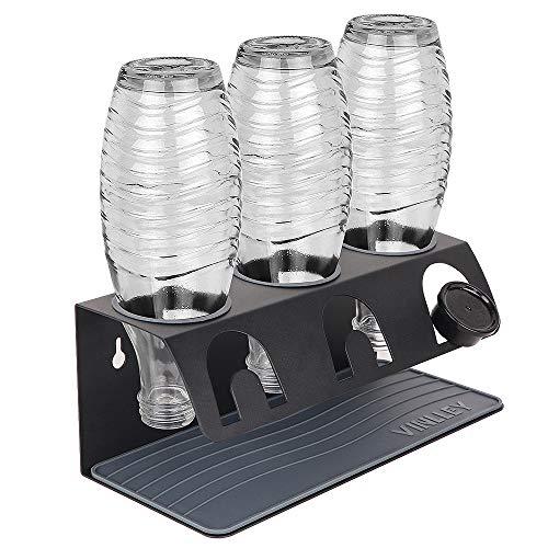 Vinlley Soporte para botellas de acero inoxidable compatible con botellas Sodastream, 3 piezas, escurreplatos para botellas Sodastream Crystal y Emil, color negro