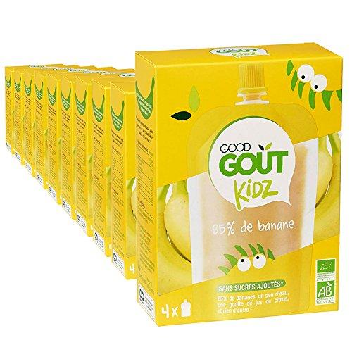 Good Goût Kidz - BIO - 40 gourdes 90g Fruits Banane dès 3 ans - pack de 10x4