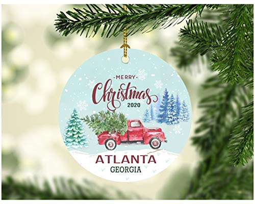 Christmas Ornaments 2020 Atlanta Georgia State Ornament Rustic Christmas Party Decorations Holiday Funny Gift Together Family Decorated Xmas Tree Decor 3' MDF Plastic White