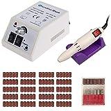 Grandma Shark Professional nail machine électrique, Équipé de 106 bandes abrasives (20000RPM) (Blanc)