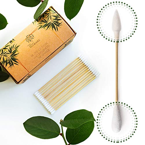 Premium 6 inch Long Bamboo Cotton Swabs | Compostable Dog Ear Sticks | Buds for Gun Cleaning Kit | Zero Waste Disposable Products | Plastic Free Wooden Makeup Swab | Eco Friendly Biodegradable Cleaner