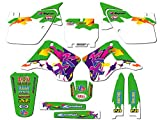 1994-1995 KX 125/250 (2-STROKE), Throwback Green Complete Graphics Kit, By Senge Graphics Inc, compatible with Kawasaki