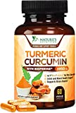 Turmeric Curcumin Highest Potency 95% Curcuminoids 1950mg with BioPerine Black Pepper for Ultra High Absorption, Made in USA, Best Vegan Joint Support by Natures Nutrition - 60 Capsules