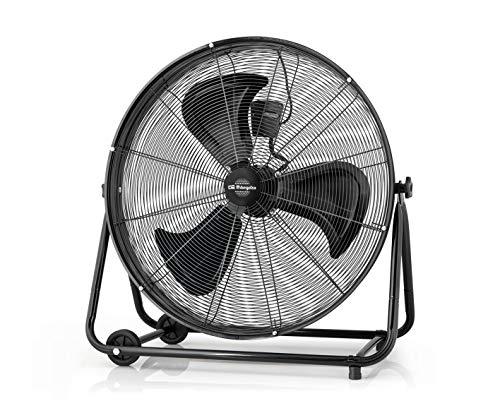 Orbegozo PWT 3075 Ventilador industrial Power Fan, cabezal inclinable, aspas metálicas de 75 cm, 3 velocidades de ventilación, ruedas de transporte, 200 W