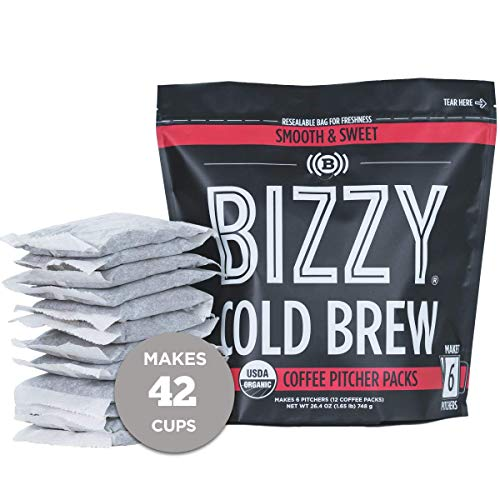 Bizzy Organic Cold Brew Coffee | Smooth & Sweet Blend | Coarse Ground Coffee | Brew Bags | 12 Count | Makes 42 Cups