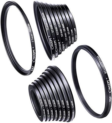 Lente de la cámara 18pcs Filtro Paso Adaptador/Abajo del Sistema del Anillo 37-82mm 82-37mm, for Canon Nikon Sony DSLR Lente de la cámara