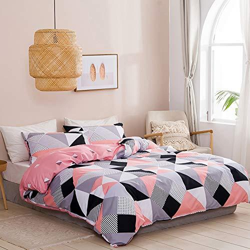 jinritong Juego de ropa de cama de 135 x 200 cm, geométrico, rosa, gris, negro, blanco, a cuadros, juego de funda nórdica 100% suave microfibra reversible + 1 funda de almohada de 80 x 80 cm