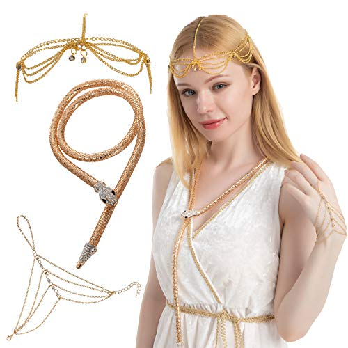 Spooktacular Creations 3 pcs Egyptian Queen Cleopatra Costume Accesories Set with Egyptian Chain Jewelry Headpiece, Snake Necklace and Chain Crystal Finger Ring Bracelet
