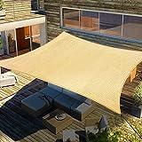 Lulu Home 10FTx13FT Rectangular Sun Shade Sail Canopy, UV Block Shade Sail, Outdoor Sun Shade Canopy for Patio Backyard Garden, Sand