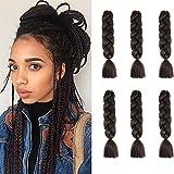 Cybelleza 6 piezas / 600 g Extensiones de cabello trenzado de 24' Jumbo Braids Sintético Kanekalon Crochet Hair Afro Box Trenza resistente al calor (Marrón medio)
