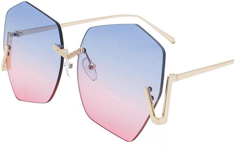 Round Face Polygon Retro Harajuku Style Sunglasses for Women. Sunglasses (color   gold blueee Powder)