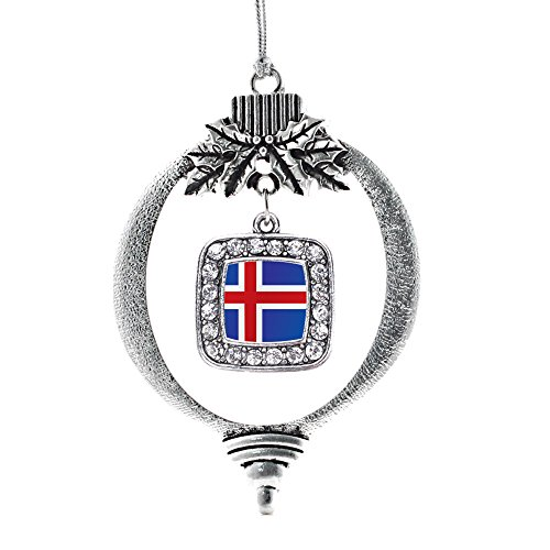 Inspired Silver - Iceland Flag Charm Ornament - Silver Square Charm Holiday Ornaments with Cubic Zirconia Jewelry