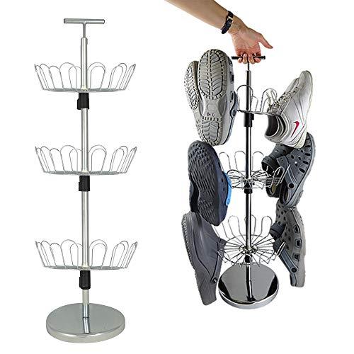 UPP Zapatero portátil y giratorio, sistema de organización compacto, con espacio para 18 pares de zapatos, organizador de zapatos de metal que ahorra espacio