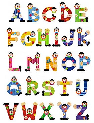 Sevi Holzbuchstaben Clown für Wunschname inkl Geschenkverpackung Türbuchstaben Kinderbuchstaben Holz Dekobuchstaben (4 Holzbuchstaben)