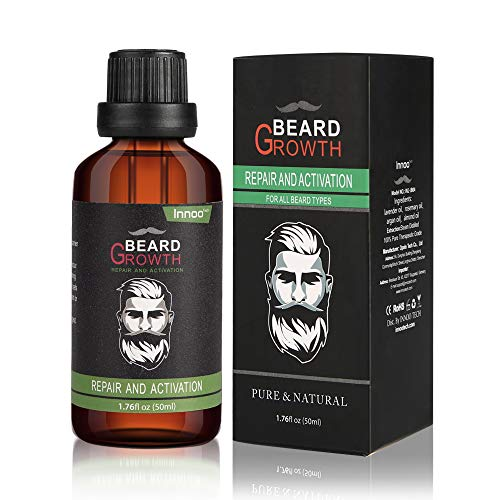 Innoo Tech Premium Beard Oil 50ml, Argan & Jojoba Oils, All Natural Organic, Vegan, Cruelty Free, Softening Beard Grooming Beard and Mustache Maintenance