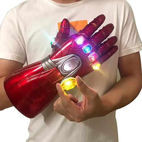 yacn Guantes de Iron Man Infinity Gauntlet Iron Man con 6 Piedras infinitas con imán LED Desmontable, 3 Disfraces de Modo de Flash Avengers Endgame para Adultos