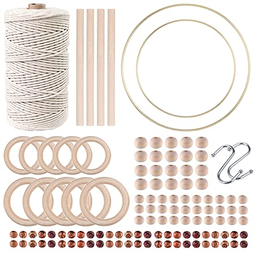 119pcs Macrame Kits for Starter 3mm x 109Yards Natural Cotton Macrame Cord with...