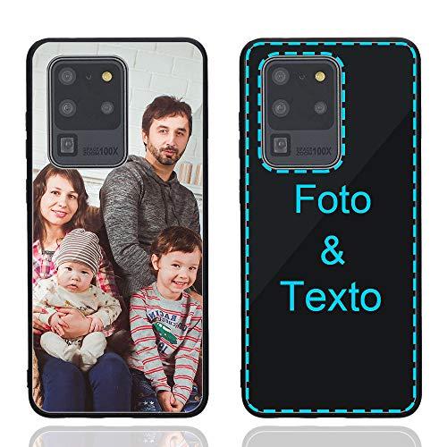 MXCUSTOM Funda Personalizada para Samsung Galaxy S20 Ultra / S20 Ultra 5G, Carcasa Personalizado Teléfono móvil Anti-Rasguños Vidrio Templado Parachoques Suave con Foto Imagen Texto Diseña (GHS-BK-P1)
