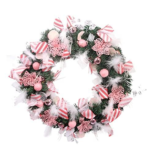BIAOYU Ghirlanda di Natale artificiale 50CM con rosa/rosso decorazioni miste per porta anteriore festa festa decorazione della parete (colore: rosa)