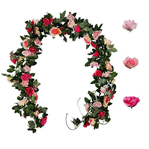 3 Pack Artificial Immortal Rose Garland Rattan Decorations,Fake Flowers Silk Green Leaf Flowers Plants for Wedding Party Garden Arch Arrangement Decoration
