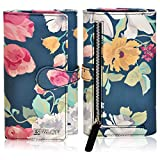Leather Wallets for Women - RFID Blocking Real Leather Floral Checkbook Wallet