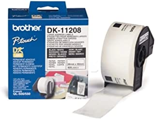 Brother DK-11208 Large Address Labels, 38mm x 90mm, Black on White, 400 Labels in 1 Roll