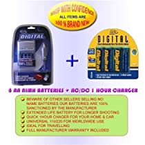 充電器+ 8AA 2700mAhのバッテリーPentax Optio k100d k110d 50l e10m20m1060* ist DS 50s45s40D 33lf 43WR s30