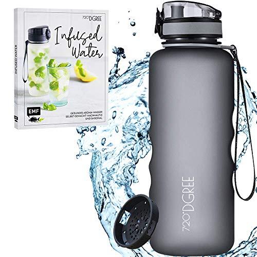 720°DGREE Bundle: Trinkflasche uberBottle + Rezeptbuch mit erfrischenden Sommerrezepten - 1000ml- softTouch +Fruchteinsatz - Leckere Getränke für Schule, Sport, Fitness, Gym, Wandern, Outdoor