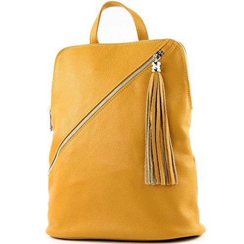 modamoda de - T161- mochila de cuero ital 3in1 para mujer, Color:T161 de color amarillo mostaza
