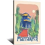 ASFGH Póster de MarRAKECH Francia Vintage Viaje Decoración Póster Moderno Oficina Familiar Lienzo Cuadro Cuadro Cuadro Decoración Decoración Cartel de Regalo