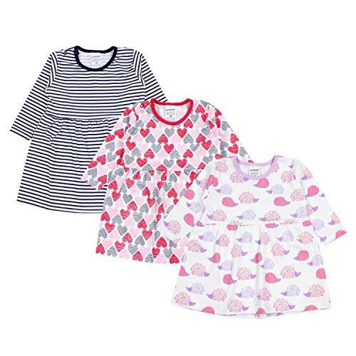 TupTam Baby Mädchen Kleid Langarm Tunika 3er Pack, Farbe: Farbenmix 1, Größe: 98