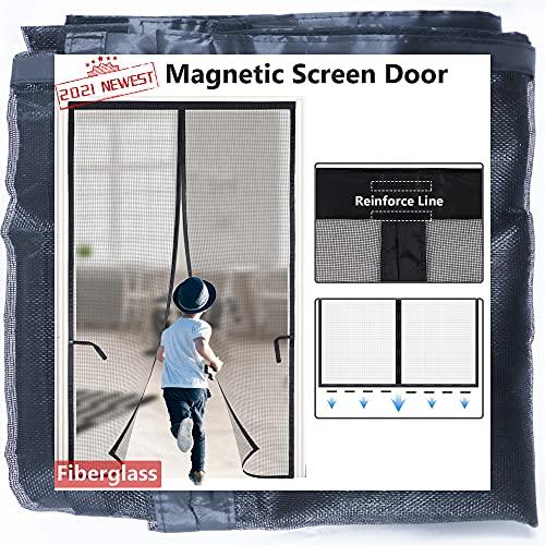 Magnetic Screen Door for Sliding Door/French Door 72x80 2021-Upgraded Version with 36 Longer Magnets,Reinforced Fiberglass Retractable Doggy Sliding Door Screen, Kids/Pets Entry Friendly,Black