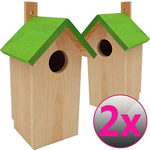 DILUMA Nistkasten Green 2er Pack 23 x 10 x 10 cm aus FSC Holz Nisthaus perfekt für Meisen Kohlmeisen Kleiber Rotschwänzchen und weitere Vogelarten Vogelnistkasten