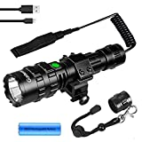 Tactical Flashlight 4000 High Lumens 5 Modes Portable Waterproof LED Weapon Light with Mlok Mount and Remote Pressure Switch,Rechargeable Battery and Hexagon Screwdriver,for AR15 on Picatinny Rail
