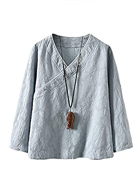SCOFEEL Women s Cotton Linen Shirts Retro Chinese Frog Button Tops Blouse with Jacquard Azure