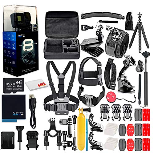 GoPro HERO8 Black Digital Action Camera - Waterproof, Touch Screen, 4K UHD Video, 12MP Photos, Live Streaming, Stabilization - with 64GB Memory Card and 50 Piece Accessory Kit - Fully Loaded Bundle