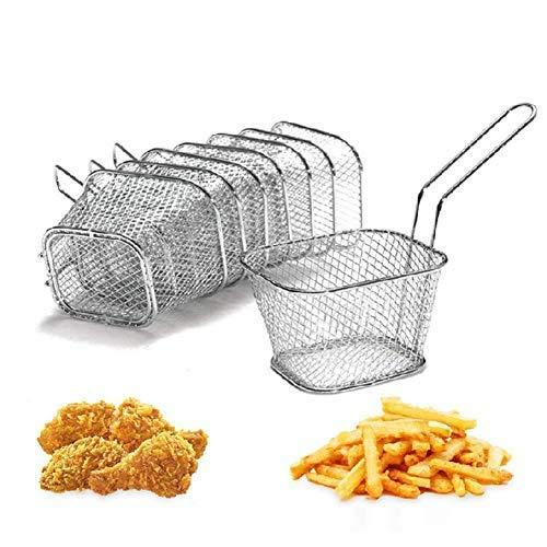 delaman 8Edelstahl Frittieren Korb Mesh French Chip Braten, die Speisen Servieren Präsentation Sieb Kartoffel Kochen Werkzeug