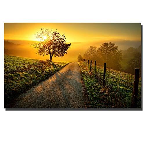 wZUN Lienzo de Paisaje de Puesta de Sol de Gran tamaño en la Pintura de la Pared Carteles e Impresiones Sala de Estar Imagen de Arte de Pared Impermeable 90x140cm