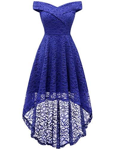 HomRain Damen Kleider Elegant Spitzenkleid Cocktailkleid Knielang Rockabilly Kleid Abendkleider Royalblue S