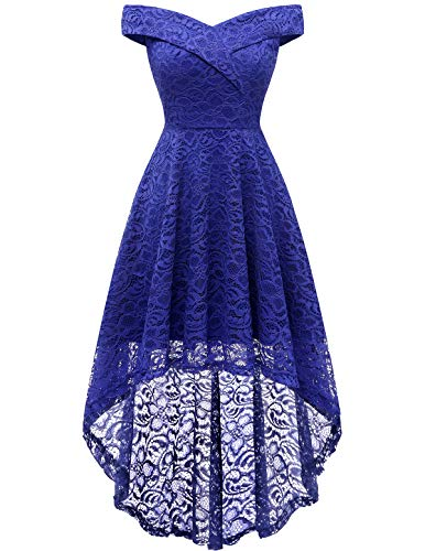 Dress for Wedding Guest Cocktail Dresses for Women High Low Off Shoulder Floral Lace RoyalBlue M