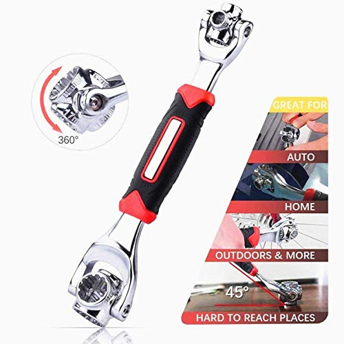 Tiger Wrench Universal wrench 48 Tools in One Socket with 360 Degree Rotatingand Magnetic,Universal Furniture Car Repair Tool Works with Spline Bolts, Torx, Square Damaged Bolts (Red)