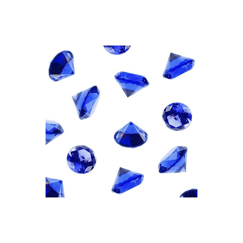 silk flower arrangements super z outlet acrylic color faux round diamond crystals treasure gems for table scatters, vase fillers, event, wedding, arts & crafts (1 pound, 240 pieces) (royal blue)