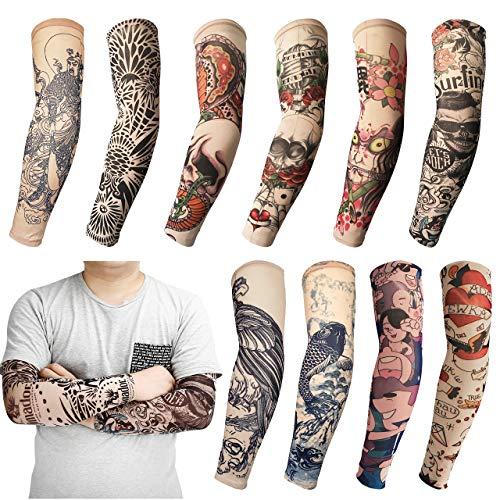 AIMTOP 10 Stück Tattoo Ärmel, Tattoo Sleeves Arm Tattoo Strumpf Unisex Nylon Tattoo Ärmel Sleeve Temporäre Tattoo Armstrumpf für Karneval Fasching Party (Mehrfarbig)