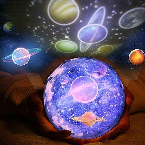 Luz de Nocturna Proyector Estrella Bebé Proyector Lámpara, 360 Grado Giratorio Planeta Tierra Luna Mar Estrellado Led Proyector Iluminación