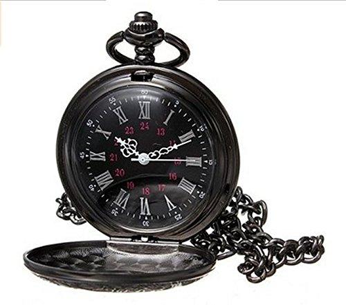 yesfashion Vintage Negro Romanos Flor Reloj de Bolsillo